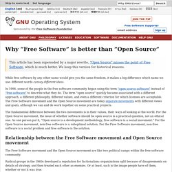 Pourquoi l'expression «logiciel libre» est meilleure qu'«open source» - Projet GNU