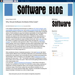 IEEE Software Blog: Why Should Software Architects Write Code?