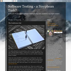 Software Testing - a Sisyphean Task?: The Conference List
