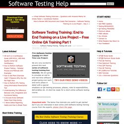 Software Testing Training: End to End Training on a Live Project – Free Online QA Training Part 1