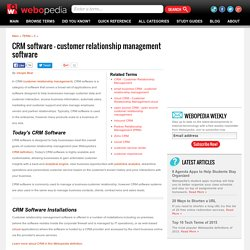 What is CRM Software? Webopedia Definition