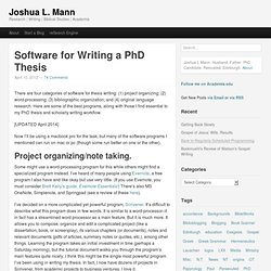 thesis organizing software This page is a great source of interactive tools that help students accomplish  various goals, from organizing their thoughts to learning about.
