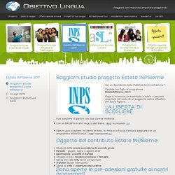 Soggiorni studio progetto estate INPSieme - Obiettivo lingua