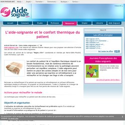 L'aide-soignante et le confort thermique du patient - Elsevier - Masson - Dossiers - Ressources
