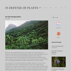 On Soil and Speciation — In Defense of Plants
