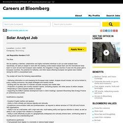 Solar Analyst Job