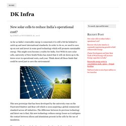 New solar cells to reduce India's operational cost?