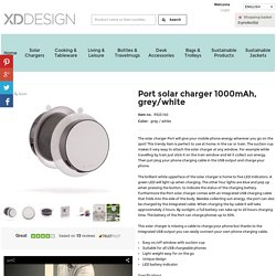 Port solar charger 1000mAh, grey/white