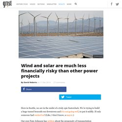 Wind and solar are much less financially risky than other power projects