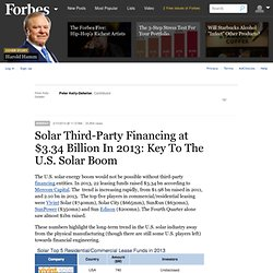 Solar Third-Party Financing at $3.34 Billion In 2013: Key To The U.S. Solar Boom