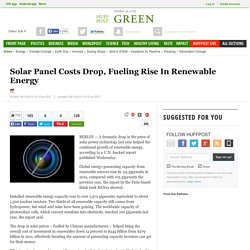 Solar Panel Costs Drop, Fueling Rise In Renewable Energy