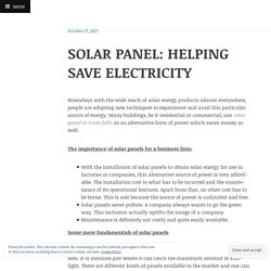SOLAR PANEL: HELPING SAVE ELECTRICITY
