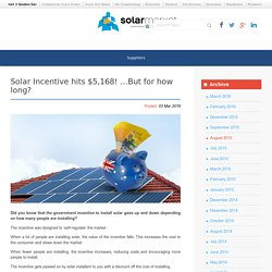 Solar Incentive hits $5,168! ...But for how long?