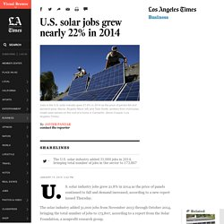 U.S. solar jobs grew nearly 22% in 2014