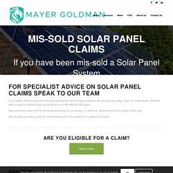 Mis-sold Solar Panel Claims - Mayer Goldman