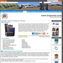 Solar Power @ ExplorOz Articles