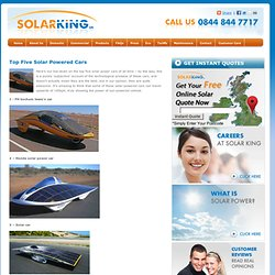 Top Five Solar Powered Car Solar Power Cars