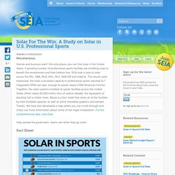 Solar For The Win: A Study on Solar in U.S. Professional Sports