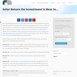 Best States For Solar ROI