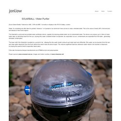 SOLARBALL / Water Purifier - Jon Liow