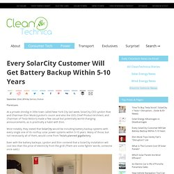 Every SolarCity Customer Will Get Battery Backup Within 5-10 Years