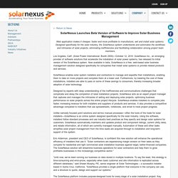 SolarNexus Launches Beta Version of Software to Improve Solar Business Management