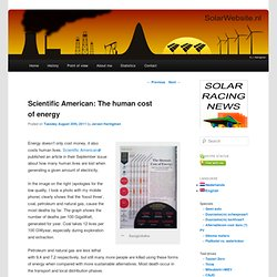 Scientific American: The human cost of energy