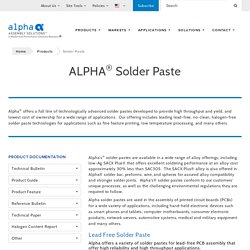 Soldering Paste - Alpha Assembly Solutions Inc.