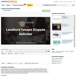 Landlord Tenant Dispute Solicitor