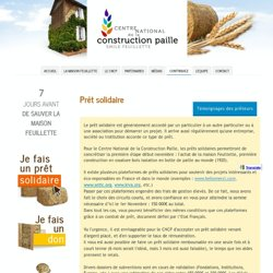 prêt solidaire - Centre National de la Construction Paille