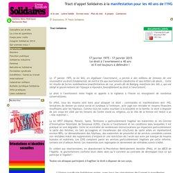 Tract d'appel Solidaires à la manifestation pour les 40 ans de l'IVG