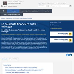 La solidarité financière entre ménages - Insee Première - 1707