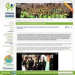 Solidarité Mondiale Tribunal des Peuples sur le salaire vital et les conditions de travail dans l'industrie de l'habillement