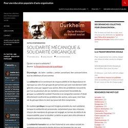 Solidarité mécanique & Solidarité organique