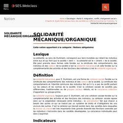 solidarité mécanique; solidarité organique