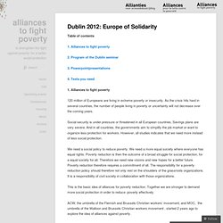 Dublin 2012: Europe of Solidarity « alliances to fight poverty
