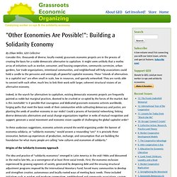 """Other Economies Are Possible!"": Building a Solidarity Economy"