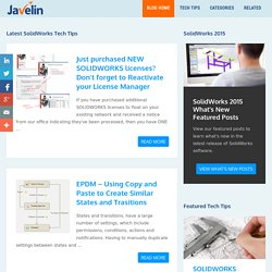SolidWorks Tech Tips, Videos & Tutorials from Javelin - Javelin is a Canadian SolidWorks Value Added Reseller