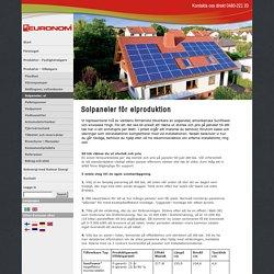 Solpaneler för elproduktion