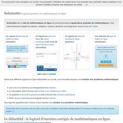 Solumaths - Logiciels web - Solutions mathématiques en ligne.