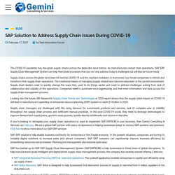 SAP Solution to Address Supply Chain Issues During COVID-19