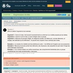 Solution Exercice - Synthèse sur l'écrit argumentatitf