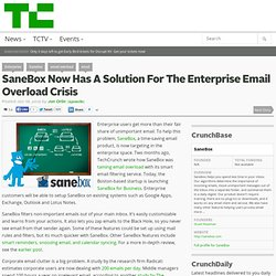 SaneBox Now Has A Solution For The Enterprise Email Overload Crisis