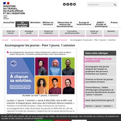 Plan 1 jeune 1 solution - France Relance - plan jeunes