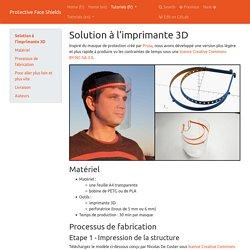 1 - Solution à l'imprimante 3D - Protective Face Shields