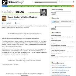 Euler's Solution to the Basel Problem : EvolutionBlog