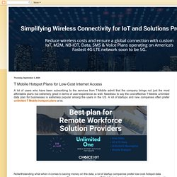 IoT Solution Providers: T Mobile Hotspot Plans for Low-Cost Internet Access