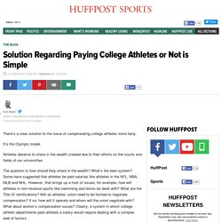 Solution Regarding Paying College Athletes or Not is Simple