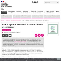 Plan « 1 jeune, 1 solution » : renforcement des mesures