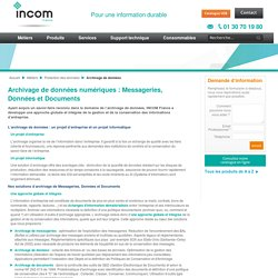 Solutions d'archivage de données - INCOM France